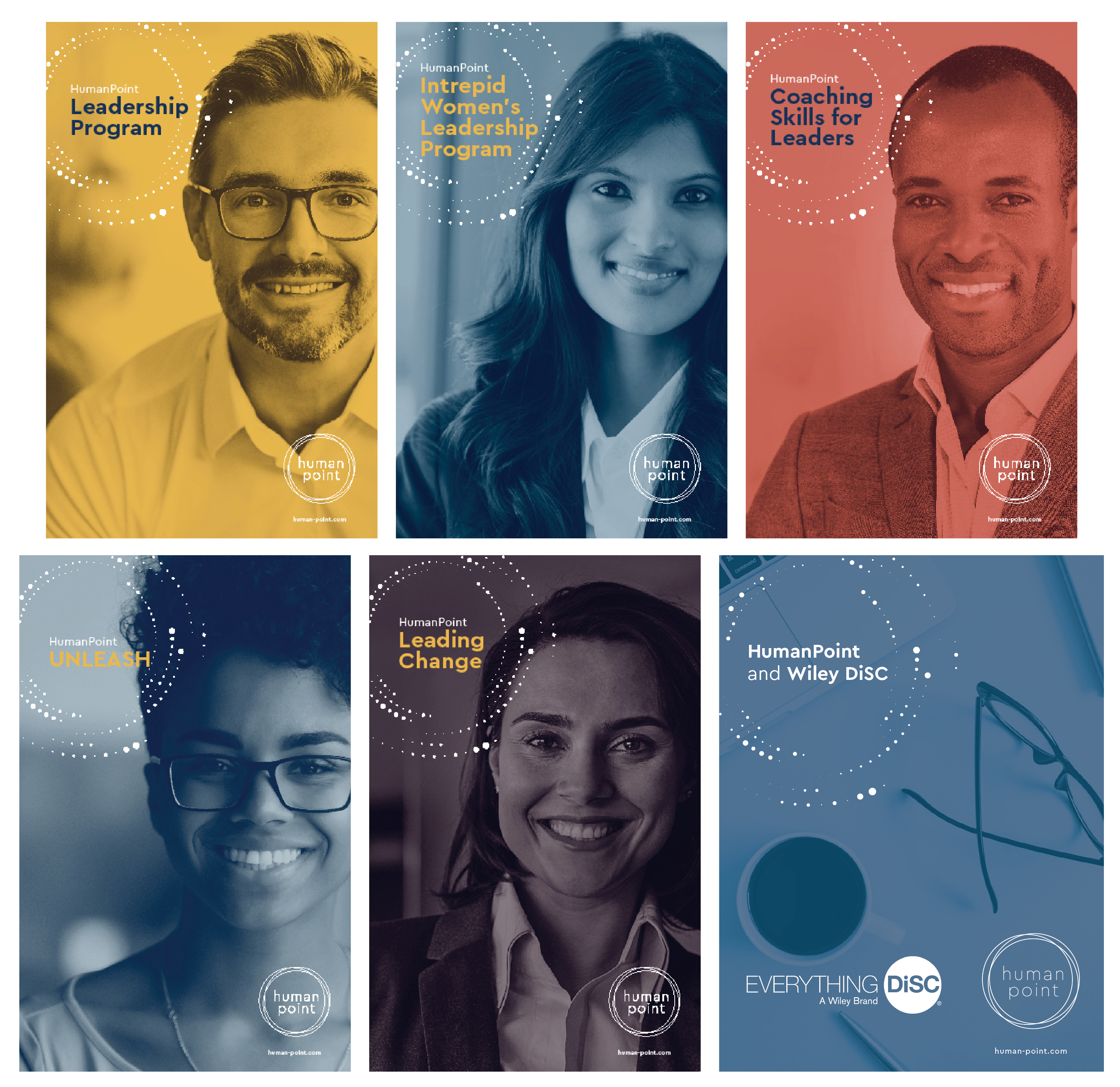 8 brochure covers for the coaching programs offered by humanpoint.